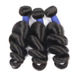 Loose wave natural black virgin human hair weave-3 bundles