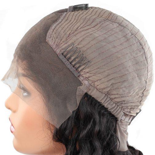 Deep wave remy human hair half lace Bob wig