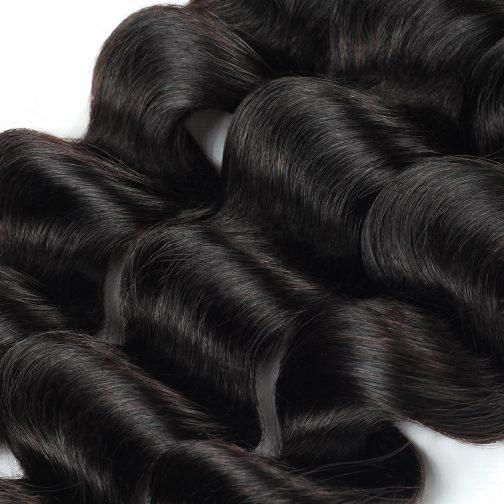 Loose Deep natural black remy human hair weave bundles
