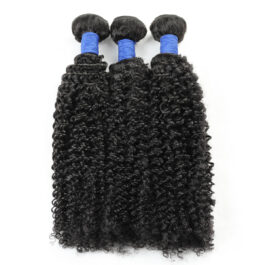 Curly natural black virgin human hair weave-3 bundles