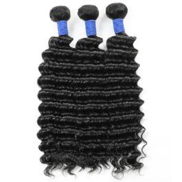 Deep wave bundles-natural black virgin human hair weave-3 bundles