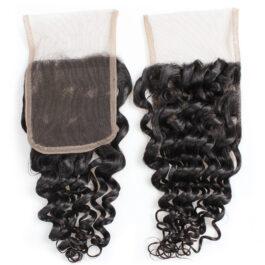 Deep wave virginhuman hair 4×4 lace closure