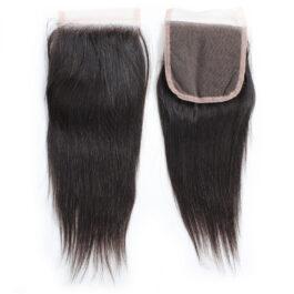 Straight virgin human hair 4×4 lace closure