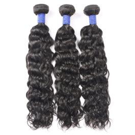 Water wave natural black virgin human hair weave-3 bundles