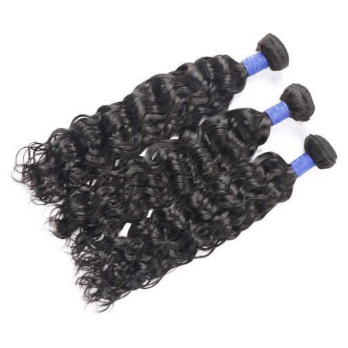 Water wave natural black remy human hair weave bundles