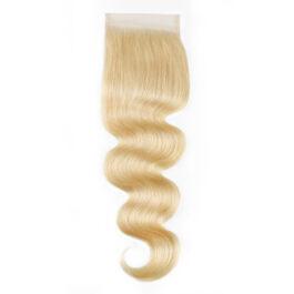 613# blonde virgin human hair 4×4 lace closure