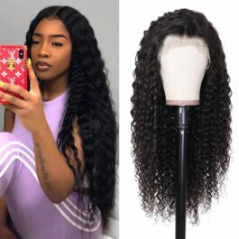 Deep wave wig-100% virgin human hair glueless lace wig