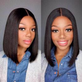 Straight virgin human hair 13×4 lace Bob wig