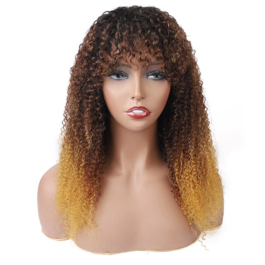 Machine made wig with bangs-ombre 3 tones