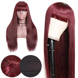 Red wig-wig with bangs-color 99j#