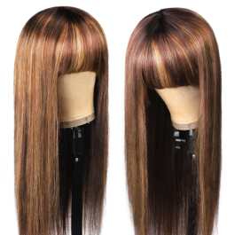 Colored wigs-Machine made wig with bangs-P4/27# color