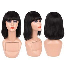 Bob with bangs-machine made wigs-Straight