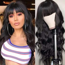 Machine made wig with bangs-body wave