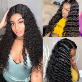 Pre plucked human hair glueless lace front wigs with baby hair